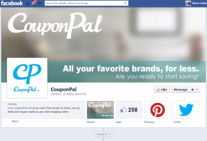 My design being used as the cover photo for Coupon Pal's Facebook page.
