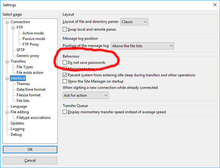 FileZilla - How to Enable Password Saving | PageCrafter