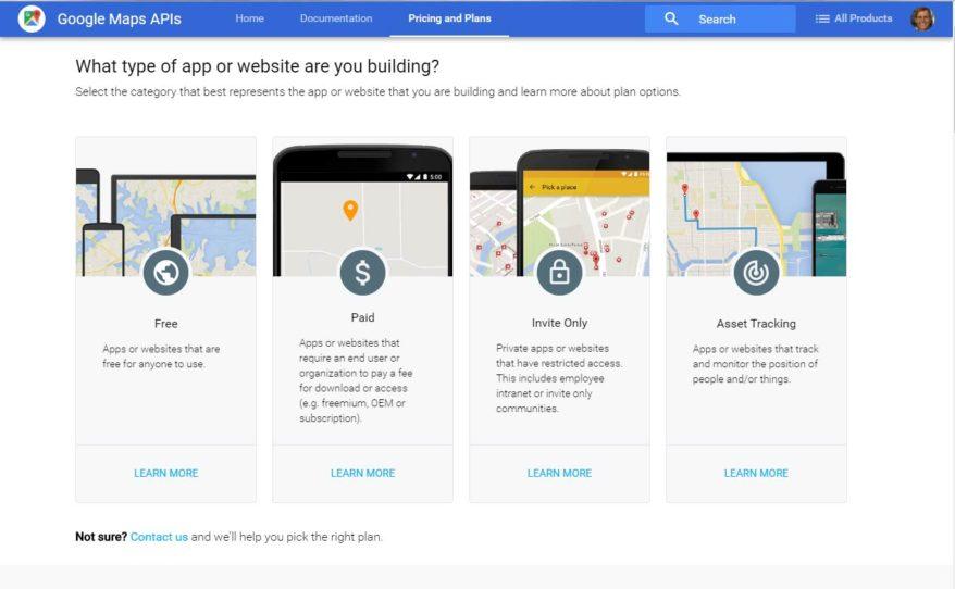 Page on Google Maps API Key Site