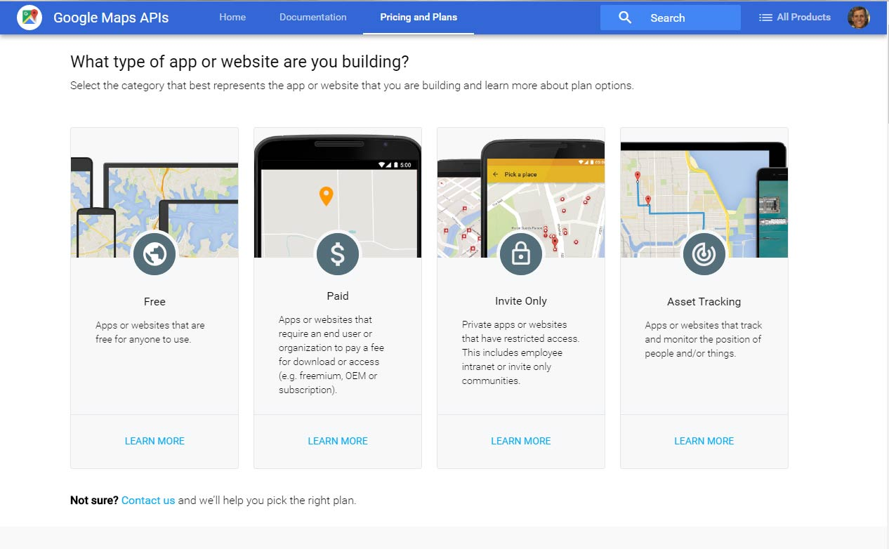 Page on Google Maps API Key Site