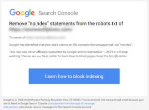 "Screenshot of the email from Google regarding use of ""noindex"" in robots.txt"