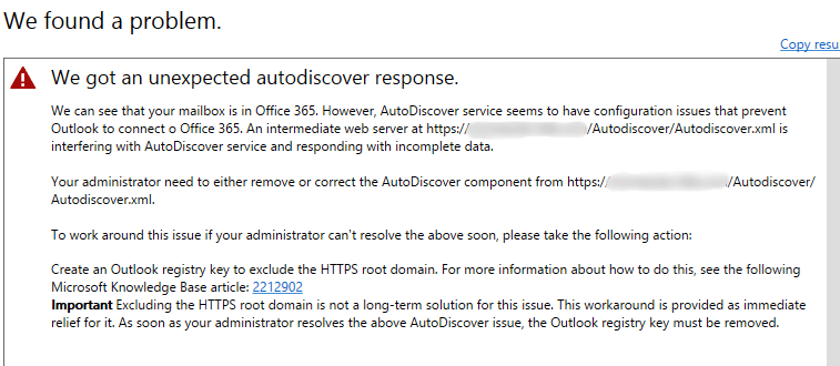 Screenshot of the Microsoft Office 365 Error from Outlook