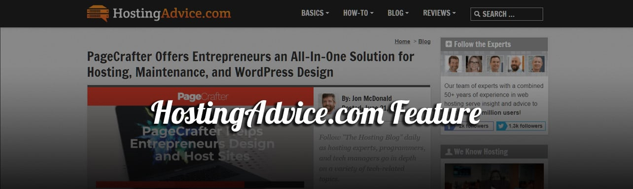 Header Image showing title of blog post and screenshot of our feature in HostingAdvice.com