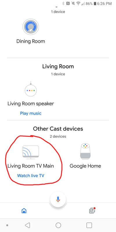 """Screenshot of the Google Home App where you can select your Chromecast device under """"Other Cast Devices"""""""